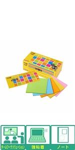 ポストイット 付箋 強粘着 ノート アイディアパック ネオンカラー 75×75mm 30枚×30冊 654-5SSAN-IP