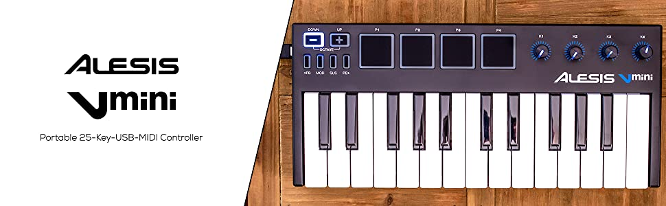 25 Tasten USB-Keyboard Midi Keyboard Controller Studio Software Alesis V Mini