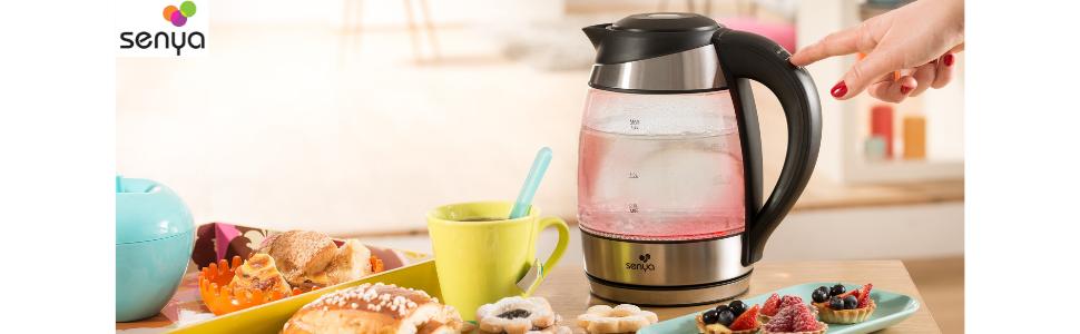 Senya SYBF K011 bouilloire électrique température réglable Tea Colours avec filtre anticalcaire et sans fil avec corps en verre et éclairage intérieur