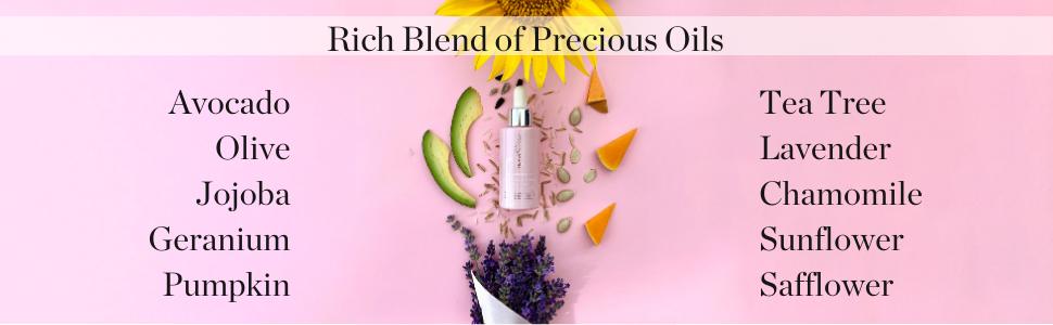 Hydropeptide advocado olive jojoba geranium pumpkin tea tree lavender chamomile sunflower safflower