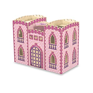 Melissa  Doug Fold and Go Wooden Princess Castle With 2 Royal Play Figures 2