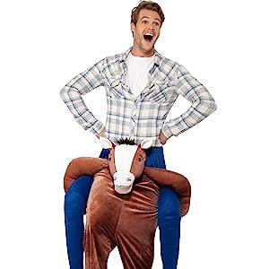 Smiffys Herren Huckepack Pferd Kostüm, Einteiler mit Beinen, One Size