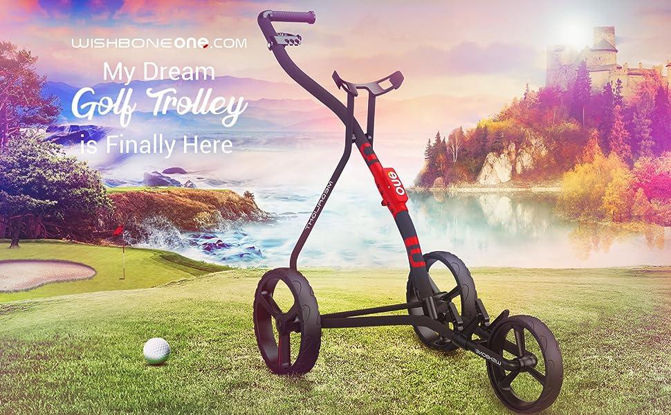 Golf Trolley wishbone golf push cart pull cart golf trolley - folding 3 wheel pushcart gift ideas