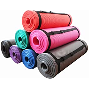 Yoga Mat All-Purpose 1/2-Inch Extra Thick With Carrying Strap Pilates Fitness 2