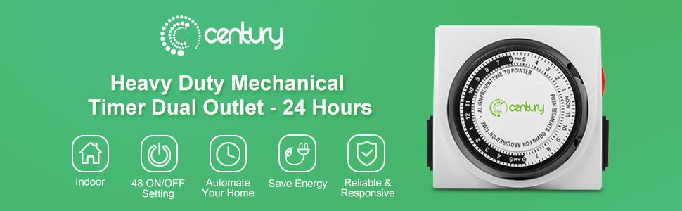 Century Heavy Duty Mechanical 24 Hour Timer Dual Outlet 3