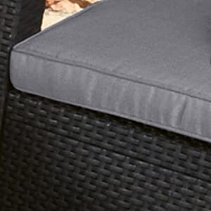 Keter Corfu patio furniture has weather proof cushions
