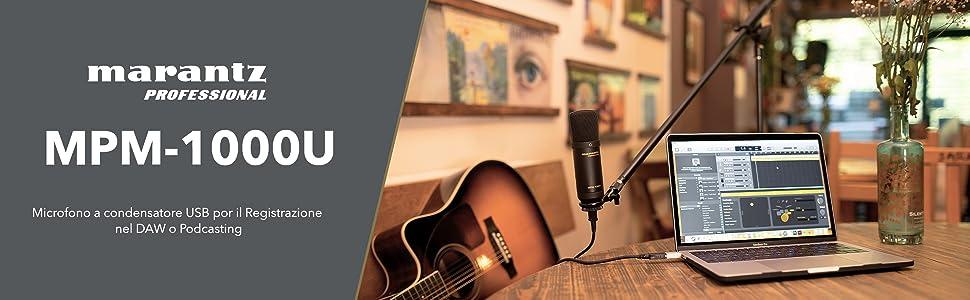 Marantz Professional MPM-1000U - Microfono a Condensatore USB con Diaframma Largo per il Podcasting e la Registrazione, Reggimicrofono e Cavo USB