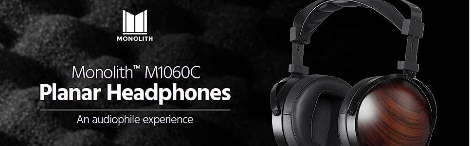 Monolith M1060C Planar Magnetic Headphones Ear, Black/Brown
