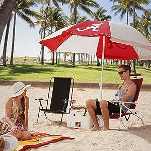 beach umbrella, sports licensed beach gear, beach chairs, nfl beach blanket, armrest with cupholder