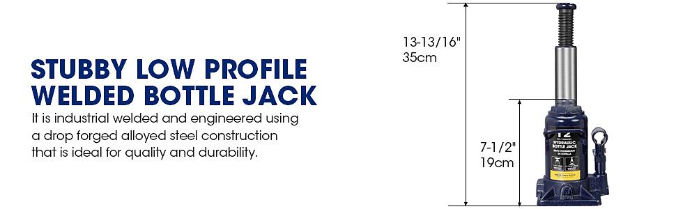 Torin TCE Hydraulic Stubby Low Profile Welded Bottle Jack, 12 Ton (24,000 lb) Capacity, Blue
