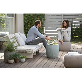 Keter Cozy Urban Knit furniture set with two chairs / ottomans and 1 table