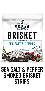 Duke's  Sea Salt and Pepper Brisket Strips Smoked Meat Snacks