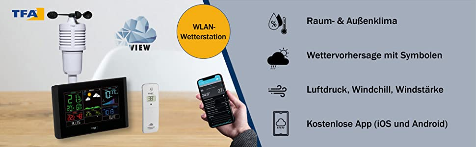 WLAN weerstation met weersvoorspelling, windmeter, thermo-hygrometer