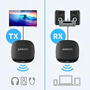Renewed Anker Soundsync A3341 Bluetooth 2-in-1 Transmitter and Receiver with Bluetooth 5 HD Audio with Lag-Free Synchronization and AUX//RCA//Optical Connection for TV and Home Stereo System