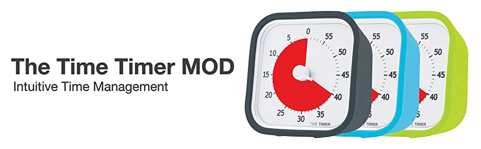 Time Timer MOD (Charcoal), 60 Minute Visual Analog Timer, Optional Alert  (On/Off), No Loud Ticking