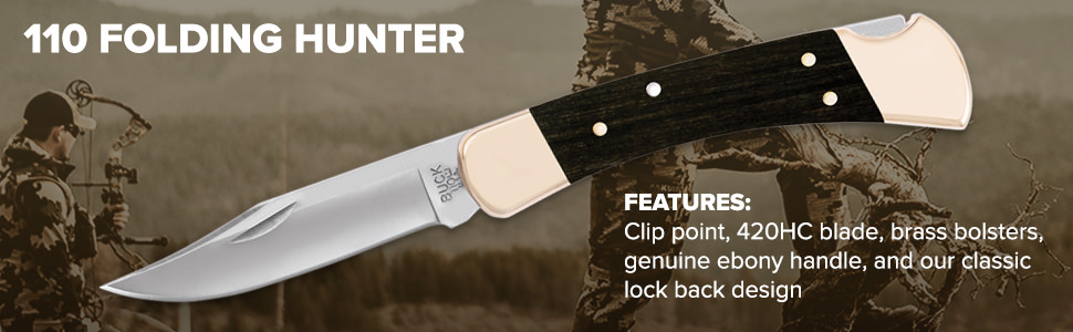 Buck Knives 110 Folding Hunter Features Clip Point, 420HC Blade, Brass Bolsters, Ebony Handle