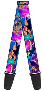 Cats Outer Space Pink Blue Purple Black White Tabby White Stars Galaxy Guitar Strap electric
