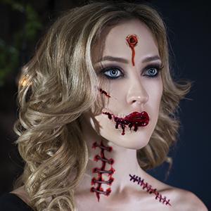 Enjoy Halloween Makeup Kit Zombie Tattoos,11 Sheets,65 Pics Fake Scars Cuts Scar Tattoo,Halloween Tattoos Fake Blood Makeup Vampire Makeup Zombie Makeup,Halloween Makeup,11 Unique Sheets,Fake Blood
