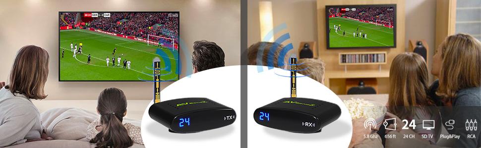 5.8G Wireless AV TV Audio Video Signal Sender Transmitter Receiver 24CH PAT635