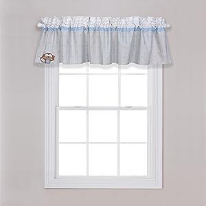 jungle fun window valance, rod pocked window valance, gray nursery window valance