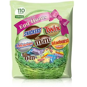 Make Easter goodie bags with fun size chocolate and candy pieces.