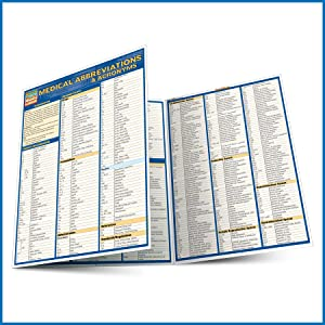 Quick Study QuickStudy Medical Abbreviations Acronyms Laminated Study Guide BarCharts Publishing Inc