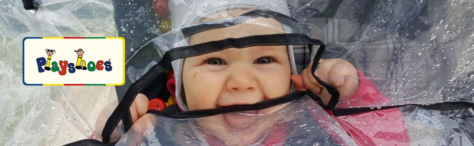 Zwillingskinderwagen Regenhaube one size mit Klettverschluss und Gummizug transparent Playshoes Universal Regenverdeck f/ür Geschwister-Buggy