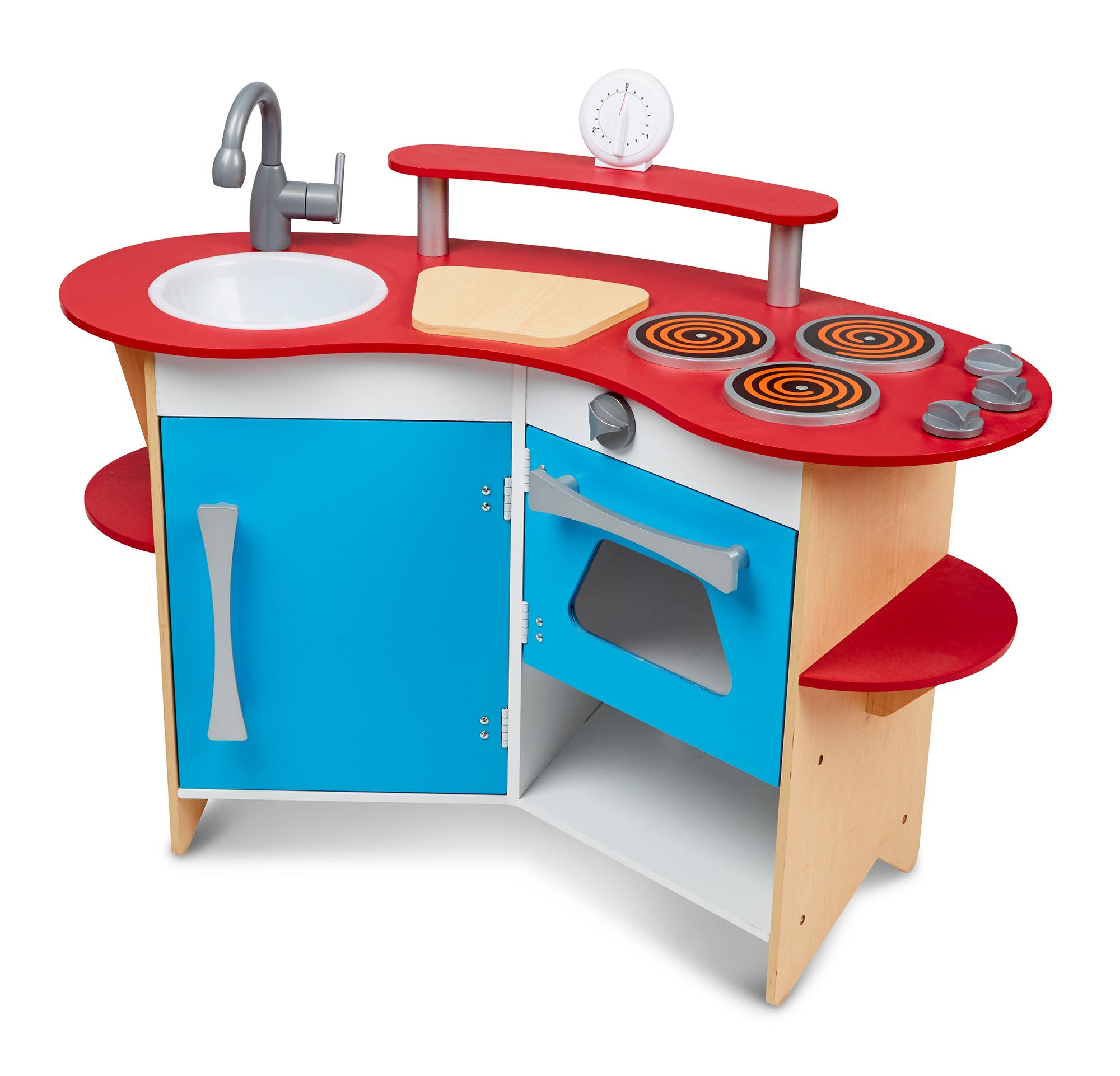 melissa doug cook 39 s corner wooden pretend play toy kitchen melissa doug toys. Black Bedroom Furniture Sets. Home Design Ideas