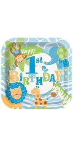 Amazoncom Blue Safari First Birthday Invitations 8ct Kitchen