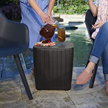 Matte Graphite Keter Resin Luzon Outdoor Table with Extra Hidden 10 Gallon Storage for Cushions and Patio Decor