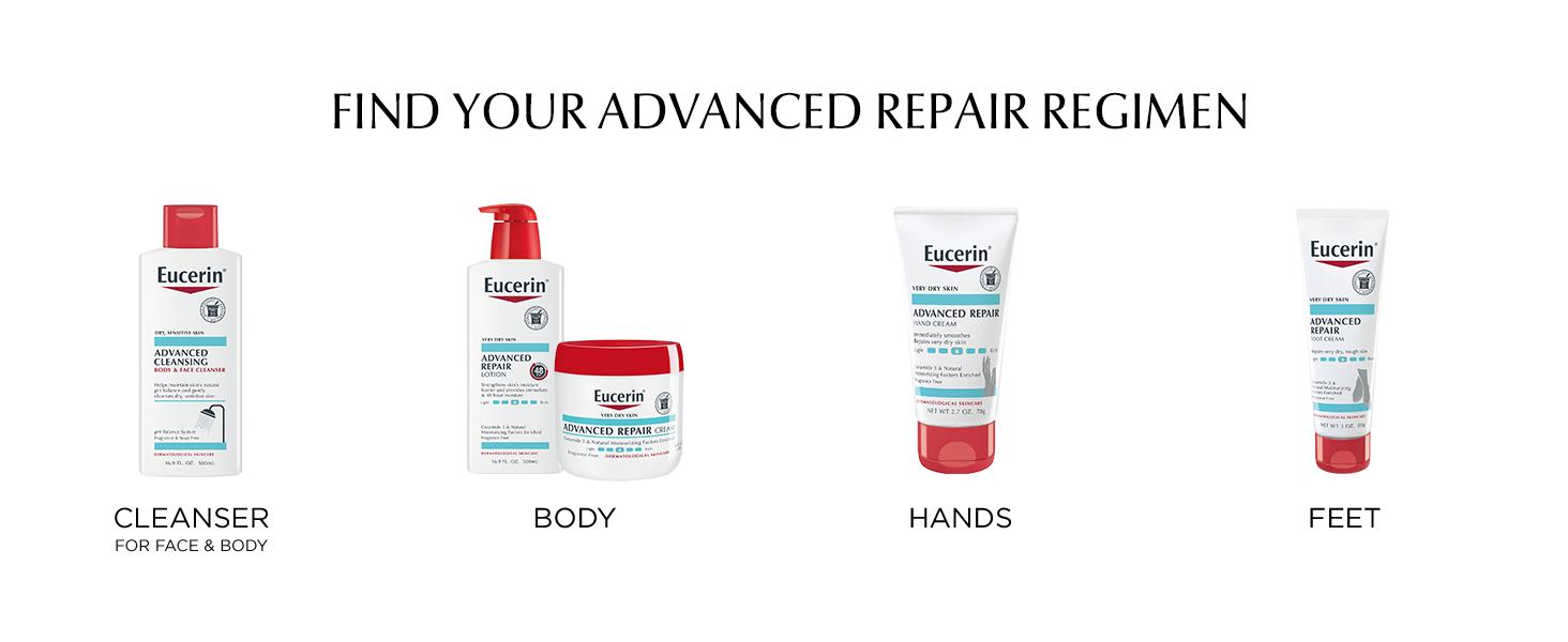 advanced repair regimen, foot cream, hand cream, body lotion, body cream, body wash, face wash