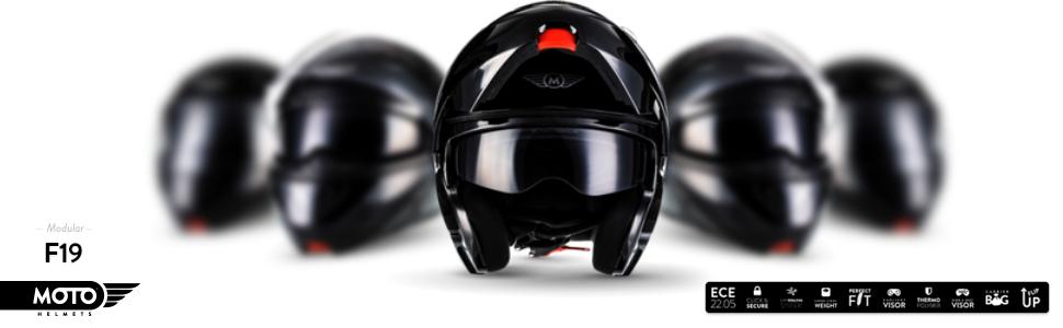 Moto Helmets F19 Gloss Black Motorrad Helm Klapp Helm Modular Helm Flip Up Integral Helm Motorrad Helm Roller Helm Sport Ece 22 05 Sonnenvisier Schnellverschluss Tasche L 59 60cm Auto