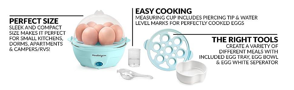 With Alarm Renewed Scrambled Whites Sandwiches Aqua Nostalgia EC7AQ Retro Premium 7 Capacity Electric Large Hard-Boiled Egg Cooker Poached Omelets