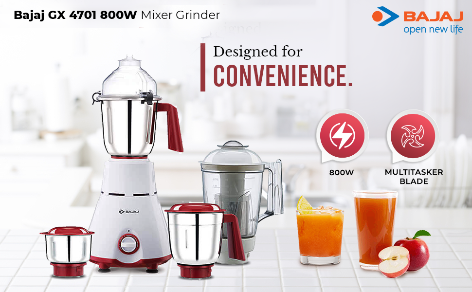 B0843WVC9Y- Bajaj GX 4701 800 Watts Mixer Grinder with 4 Jars (White & Red)- SPN-FOR 1