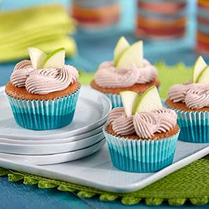sangria cupcakes, boozy cupcakes, granny smith apples, wilton covered muffin pan