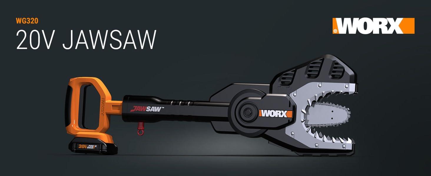 WG320 Worx Jawsaw; cordless jawsaw; jaw saw; chain saw; chainsaw; cordless power share chainsaw