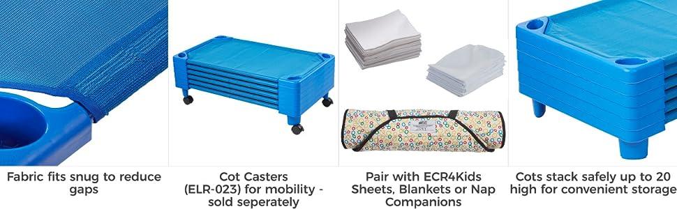 Kids Childrens Rest Beds Stackable Blue Nursery Preschool Toddler Beds