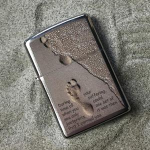 foot prints, inspirational, faith quote, brushed chrome, spiritual lighters, lighter, zippo