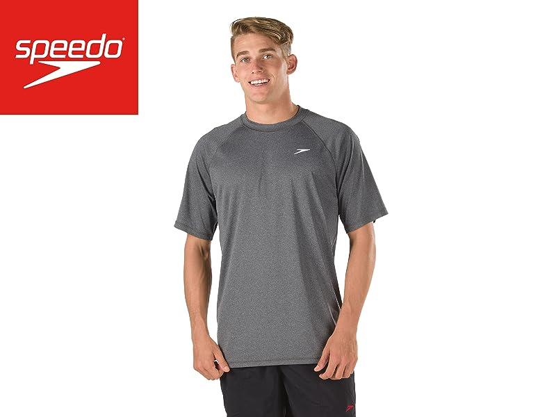 3e75e24c11 Amazon.com: Speedo Men's Heather Easy Short Sleeve Swim Tee Shirt ...