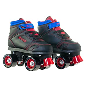 two black red and blue skates