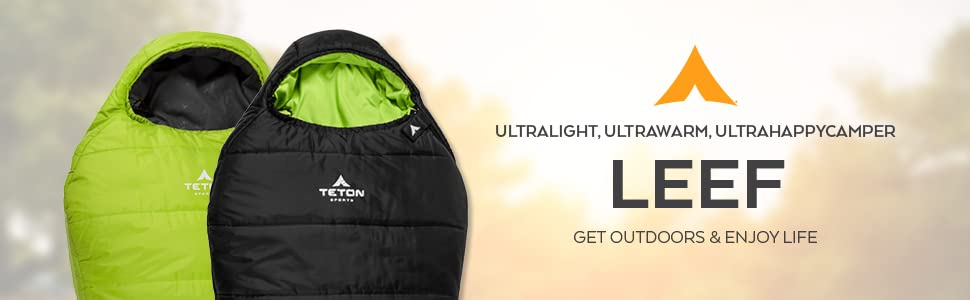Be an ultra happy camper when you feel how ultralight and ultrawarm the LEEF by TETON Sports is.