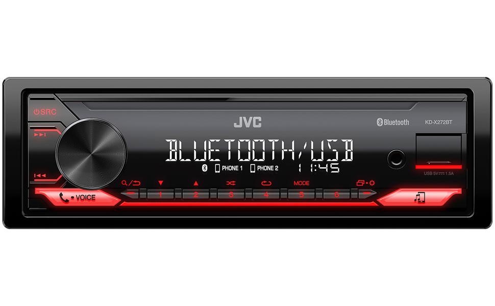 Jvc Kd X272dbt Usb Car Radio With Dab And Bluetooth Hands Free Kit Sound Processor Usb Aux In Spotify Control Android 4 X 50 Watt Red Button Light Dab Antenna Elektronik