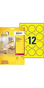 étiquettes fluo, etiquette fluo, étiquettes haute visibilité, étiquette jaune, étiquette promo, étiq