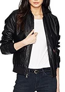 1c7c84f8270 Levi s Women s Two-Pocket Faux Leather Hooded Bomber Jacket at ...