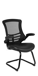 Black Mesh Sled Base Side Reception Chair with White Stitched LeatherSoft Seat