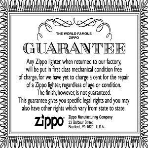 lifetime guarantee, zippo lifetime guarantee, zippo guarantee, our world famous zippo guarantee