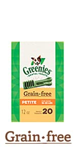 GREENIES Grain Free Dog Treats are made with no wheat for dogs with sensitivities.