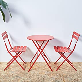 Red Bistro Sets Of Chairs And Table