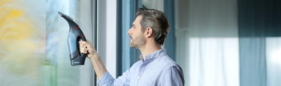 Vileda Windomatic Power Set - Aspirador de ventanas y mopa microfibras con spray, limpiacristales con cuello flexible y pulverizador con mopa, extra potencia, medidas 17.5 x 12 x 32 cm, rojo y