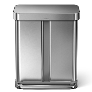 simplehuman 58 Liter / 15.3 Gallon Dual Compartment Recycler with Liner Pocket, Brushed Stainless Steel with 60 Pack Custom Fit Liner Code H